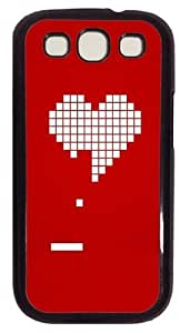 8 Bit Heart Valentines Day PC Case Cover For Samsung Galaxy S3 SIII I9300 Black
