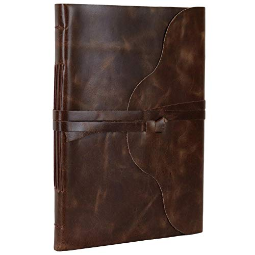- Stone Road Leather Journal Notebook Sketchbook Blank Unlined Book 8 1/2 X 12 Inches