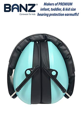 Baby Banz Earmuffs Kids Hearing Protection - Ages 2+ Years - THE BEST EARMUFFS FOR KIDS - Industry Leading Noise Reduction Rating - Soft & Comfortable - Kids Ear Protection, Turquoise by BANZ (Image #4)