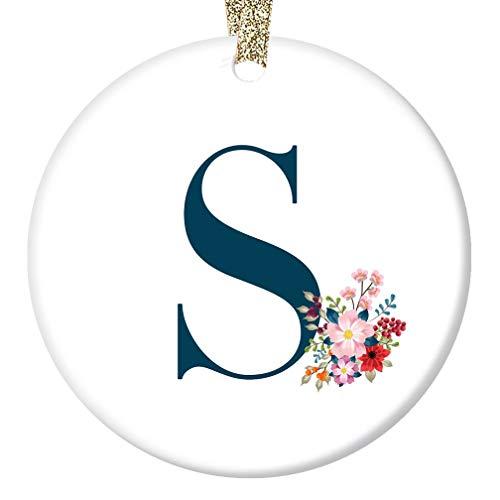 Letter S Monogram Girls Name Christmas Ornament First Last Name