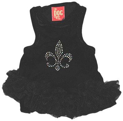 (The Dog Squad Velvet Fleur De Lis Tutu Pet Dress, Small, Black)