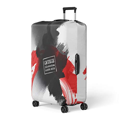 Pinbeam Luggage Cover Red and Black Abstract Ink Splats Japanese Composition Travel Suitcase Cover Protector Baggage Case Fits 22-24 inches