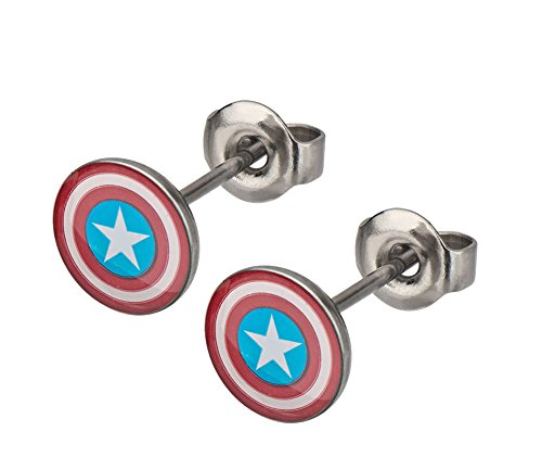 Stud Shield (Marvel Captain America Shield Logo Stud Earrings)