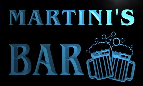 Martini Personalized Bar Sign (w004641-b MARTINI'S Name Home Bar Pub Beer Mugs Cheers Neon Light Sign)