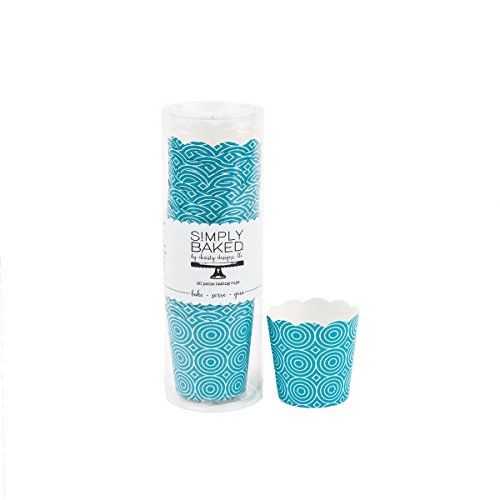 Simply Baked Petite Paper Baking Cups Turquoise Circles