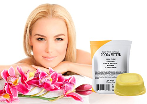 Organic Cocoa Butter 1 lb Bar Unrefined Food Grade, Non-Deodorized Pure Raw Rich In Antioxidants Great For Chocolates, DIY Recipes Lip Balms Lotions Creams Stretch Marks By Mary Tylor Naturals