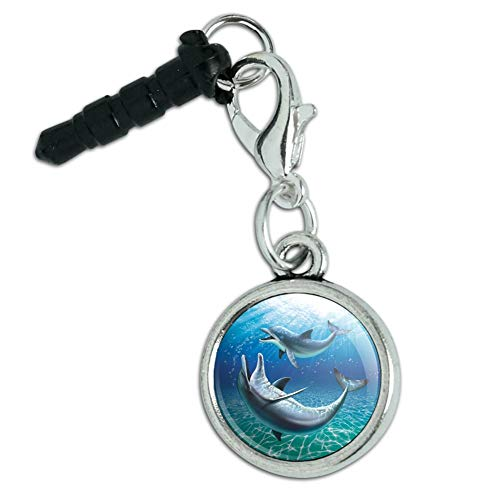 Dolphin and Baby Having Fun Ocean Mobile Cell Phone Headphone Jack Anti-Dust Charm fits iPhone iPod Galaxy