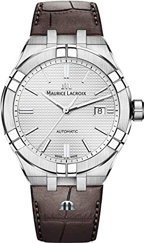 Maurice Lacroix Men's Aikon Automatic 42 mm Watch | Silver/Brown Leather