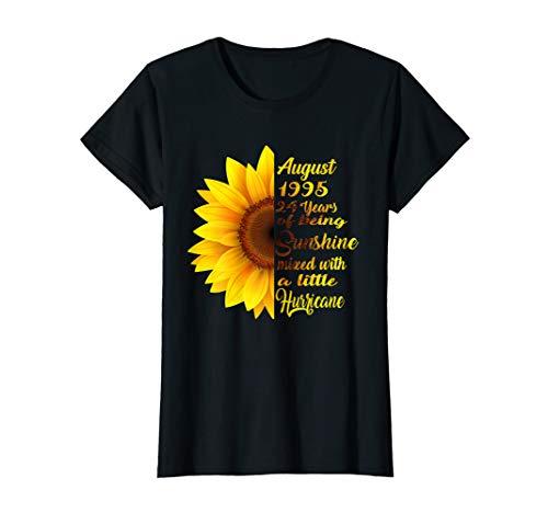 Womens August Girl 1995 T Shirt 24 Years Old Sunshine Birthday