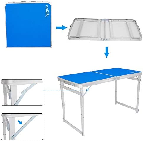 VINGLI Upgraded 4ft Portable Folding Table with 3 Adjustable Height, Lightweight Camping Picnic Party Dining BBQ Desk with Carry Handle