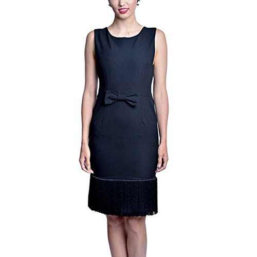 Audrey Hepburn Breakfast at Tiffanys Hand Sewn Black Tassel Dress (X-Small)