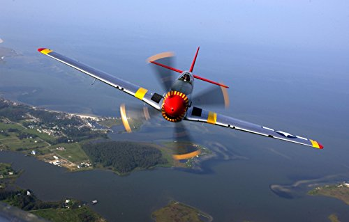 Home Comforts Canvas Print Over VIRGINAEd Shipley Flies a P-51 Mustang in a Heritage Flight During an air Show at Langley A Stretched Canvas 10 x 14 - P-51 Mustang Air Show