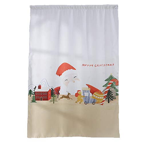 GXOK 1 Panel Fabric Christmas Window Curtain Tulle Window Treatment Voile Drape Valance Curtains Valance