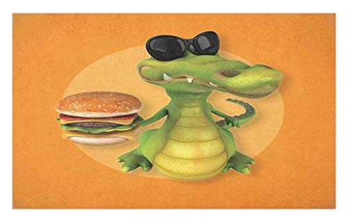 Lunarable Alligator Doormat, Glitzy Alligator with Sunglasses Holding a Double Cheese Burger Realistic Design, Decorative Polyester Floor Mat with Non-Skid Backing, 30 W X 18 L Inches, Orange Green