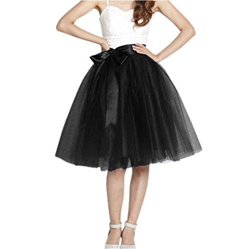 Lisong Women Knee Length Bowknot Tulle Party Prom Skirt 8 US Black