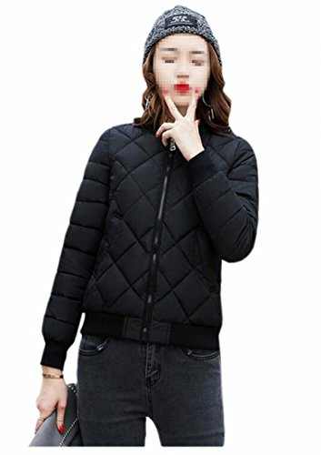 Generic Full Women's Winter Jacket Down Padded Bomber Black Zipper gZgrnw6