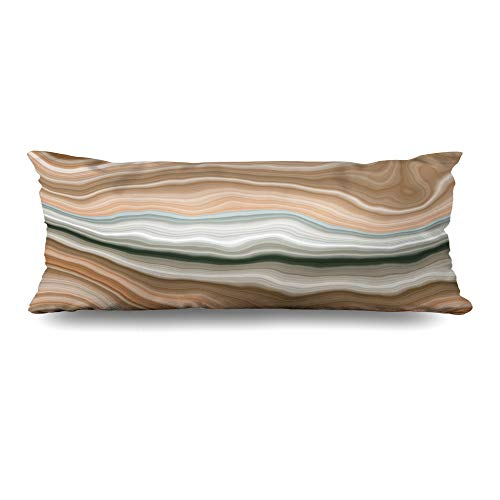 Ahawoso Body Pillows Cover 20x54 Inches Cream Brown Stone Wide Onyx Slice Marble Nature Gem Green Agate Section Streak Arabic Aragonite Decorative Cushion Case Home Decor Pillowcase