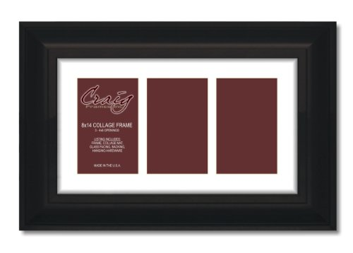 Craig Frames 21834700BK 8 by 14-Inch Black Picture Frame, Single White Collage Mat with 3 - 4 by 6-Inch - Thick Pictures Black