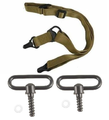 """Ultimate Arms Gear Two Steel 1"""" Inch Slot Loop Wood Screws Swivels with Spacers + Two-Point Sling, Tan for ATI German Sports Gun GSG5, GSG-5, GSG 5, AK47, AK-47 Rifle"""