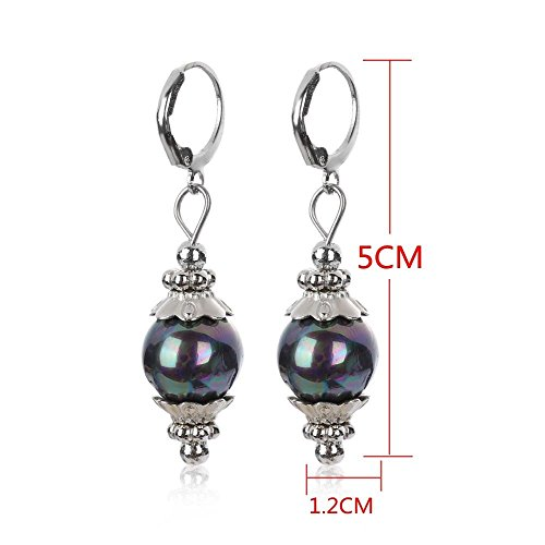 1Pair New Charm Hoop Elegant Jewelry Dangle Ear Stud Pearl Earrings Sea - Earrings Cluster Tourmaline