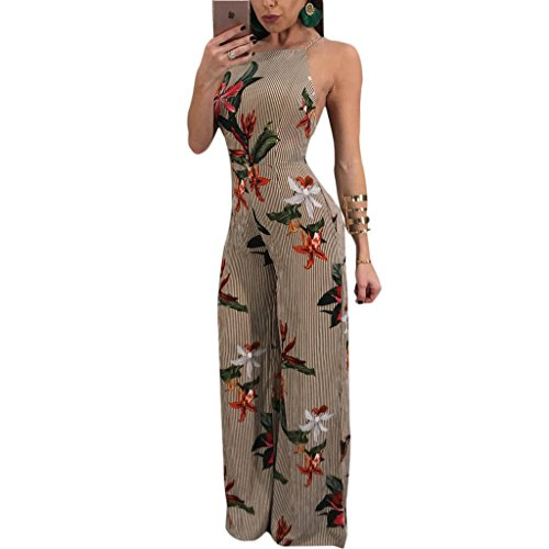Sherro Women Spaghetti Strap Floral Stripe Print Backless High Waisted Wide Leg Jumpsuits Long Pants Romper ()