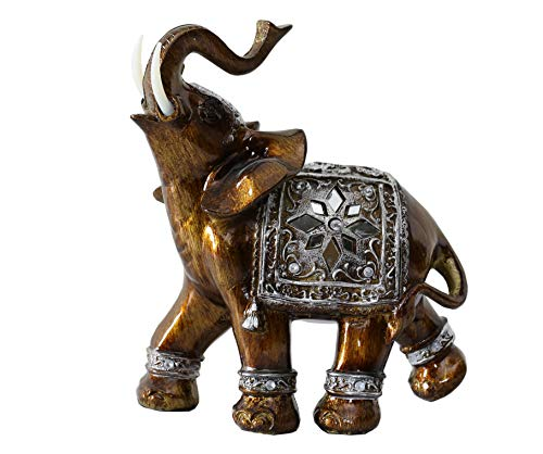 (Otartu 5inch Full Color Polyresin Elephant Figurines Statue Sculpture Decor (Small-R))