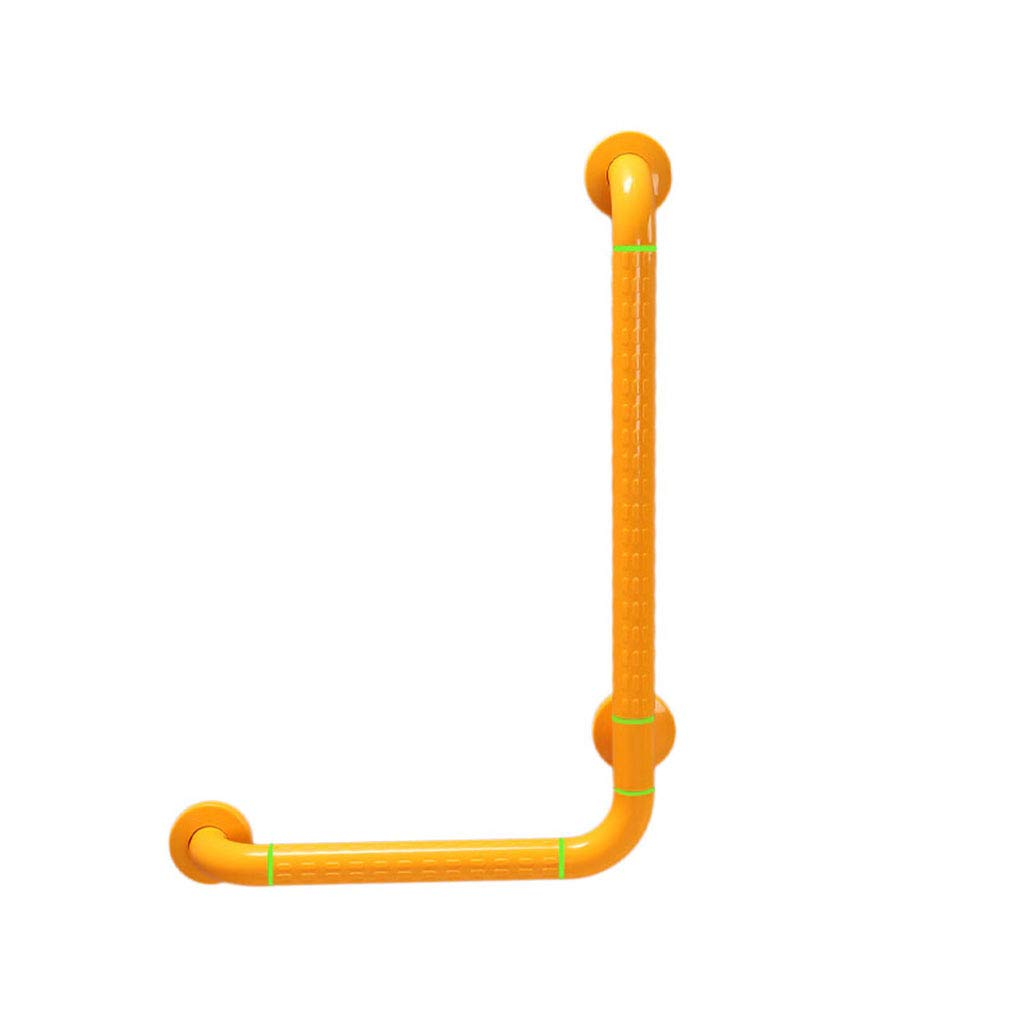 CGF-Grab Bars Handrail Stainless Steel Barrier-Free L-Shaped Armrest Anti-Bacterial Anti-Slip Safety Balustrade Elderly Disabled Pregnant Women Bearing 250kg, Yellow