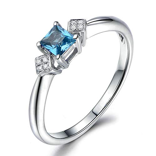 (Adisaer Women Engagement Ring 925 Sterling Silver Plated Solitaire WH 5X5Mm Square Blue Topaz Ring Size 10.5)