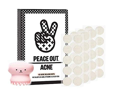 Peace Out Acne Dots - 40 Acne Healing Dots - W/Salicylic Acid, Vitamin A & Aloe Vera W/Bonus Facial Scrub by Peace Out