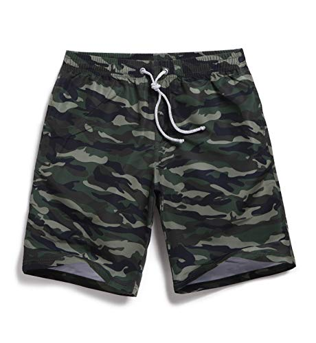 Mens Camo Swim Trunks with Drawstring Army Green Size 36 ()