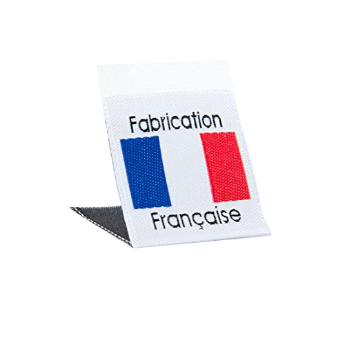 Wunderlabel France Flag Crafting Craft Art Fashion Woven Ribbon Ribbons Tag for Clothing Sewing Sew on Clothes Garment Fabric Material Embroidered Label Labels Tags Blue Red & Black on White 50 Labels