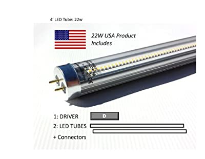 Case of 44W LED Retrofit Kits for 4' Fixtures: (12) 22W 40K LED Tubes & (6) Drivers, for Delamping