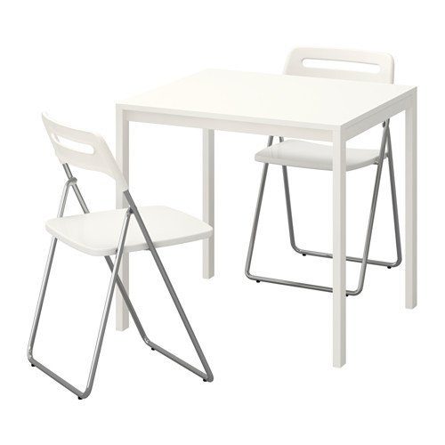 Ikea Table and 2 folding chairs, white, white 4204.20514.3438