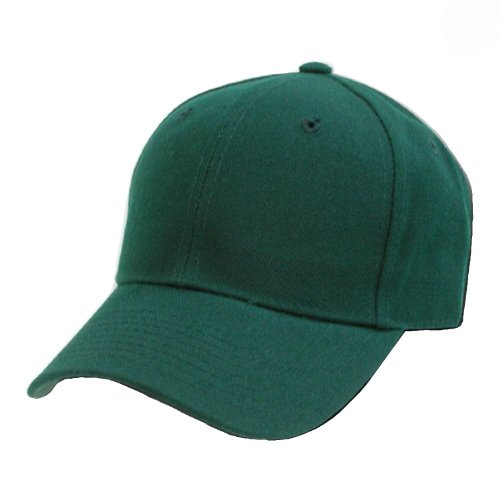Decky Plain Solid Fitted Baseball Cap Forest Green (Size 7 1/2) - Forest Green Baseball Hats