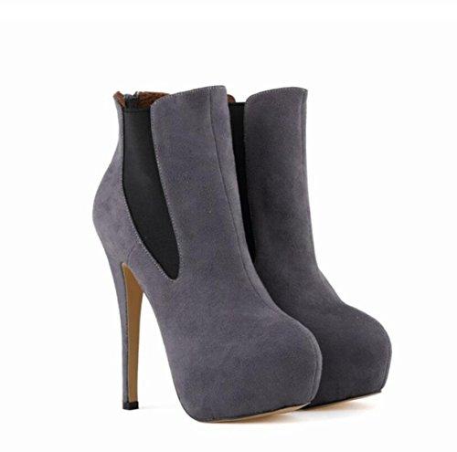 Aguja Tacón De Mujeres Cómodo Tobillo Zapatos Se Martin El Desliza Las Borroso Linyi Los Boots Sobre Grey q5wRtE1