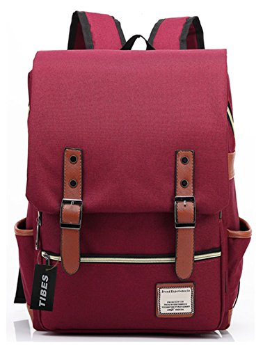 Tibes Cool Style Backpack School Bag Backpack Bag Oxford Cloth College Student Red Wine