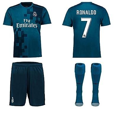 Real Madrid NB Ronaldo Bale Benzema Ramos 2017 2018 17 18 Kid Youth REPLICA Third Jersey Kit : Shirt, Short, Socks, Bag