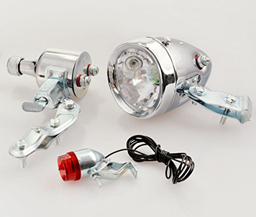 Retro Bike Headlight Tail Light Kit 12V 6W Motoriaed Bicycle Lamp with Generator Dynamo