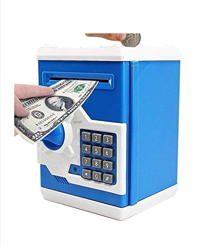 Cable World® Money Safe ATM Kids Piggy Savings Bank with Electronic Lock Piggy Bank ATM with Password ( Assorted Color ) ( Multi Design )