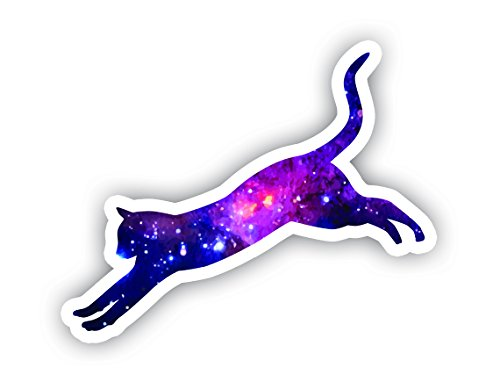 (Cat Jumping Galaxy Sticker - Laptop Stickers - 2.5