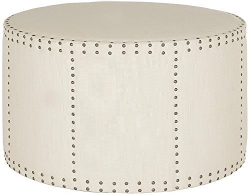 Safavieh Mercer Collection Faith Beige Nailhead Round Ottoman