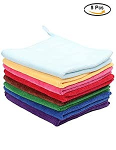 Fani Microfiber Cleaning Cloths Multi Colors Soft Washcloth 10 Pieces High Absorbent Reusable Car Towel & Kitchen Cleaning Rags