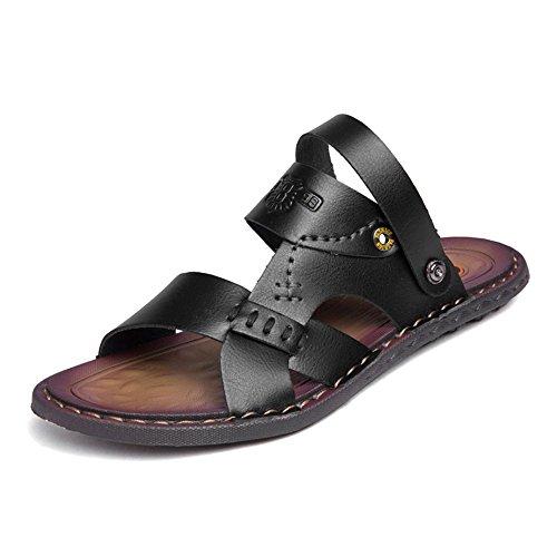 Cachi EU uomo vera uomo Color Nero Jiuyue antiscivolo traspiranti in Dimensione da pelle da sandali da Scarpe Scarpe 46 con shoes estive trekking axTUa10