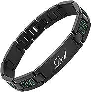 Willis Judd DAD Titanium Bracelet Engraved Love You Dad Carbon Fiber Adjusting Tool & Gift Box Incl
