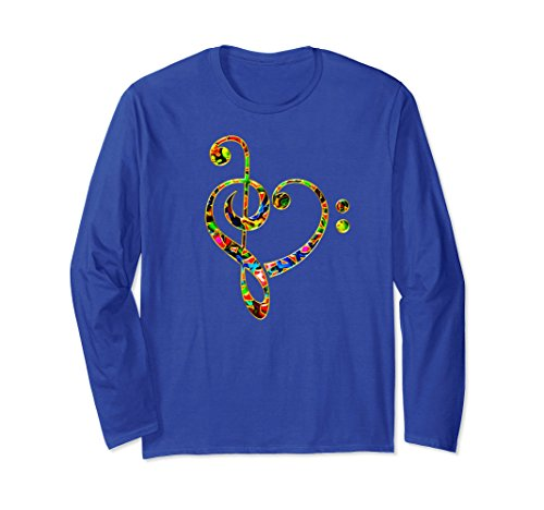 Unisex MUSIC HEART, Treble, Bass Clef, Notes, Choir, Band, T-shirt Large Royal Blue