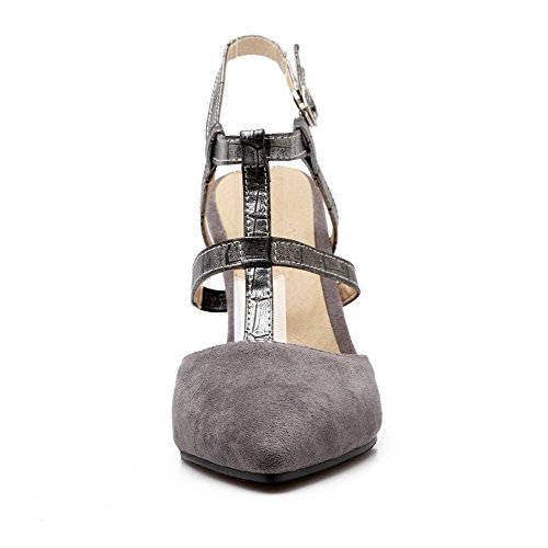 Punta Stilettini Donna Sandali Allhqfashion Aperta Fibbia Grigio Color Assortiti Smerigliata vqpBWtxw