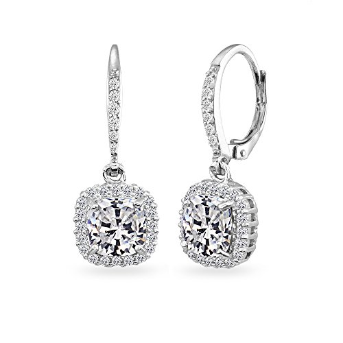 Drop White Stud - Sterling Silver Cubic Zirconia Cushion-Cut Dangle Halo Leverback Earrings