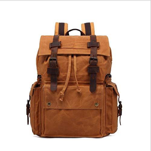 PJULNPJ Männer Rucksack Damen Öl Wachs Leinwand Tasche Gepäck Rucksack 15,6-Zoll-Wasserdichte Outdoor-Freizeit-Tasche Retro-Stil