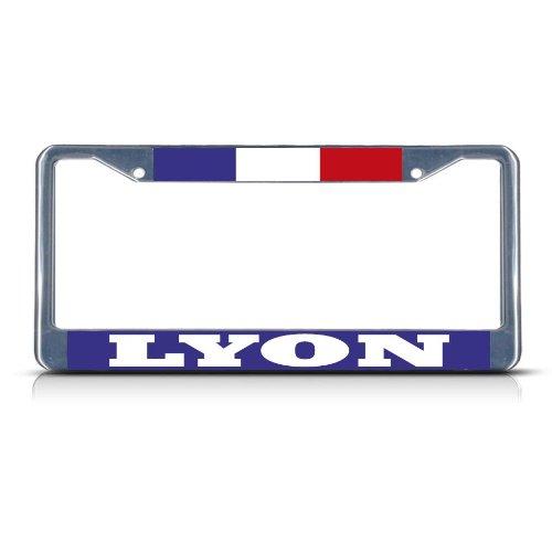FRANCE LYON Chrome Heavy Duty Metal License Plate Frame Tag Border (Lyon Metal)