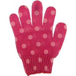 Bath Accessories Bathing Gloves, Pink Polka Dots